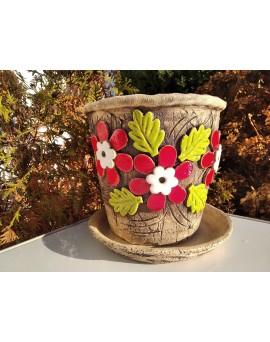 Květináč - velké červené květy