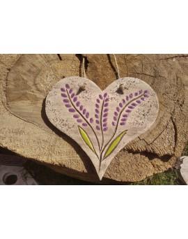 Keramické srdíčko s levandulí